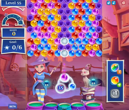 Level 55 in Bubble Witch Saga 2